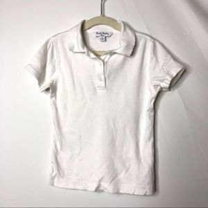 Brooks Brothers girl white polo shirt S 6-7